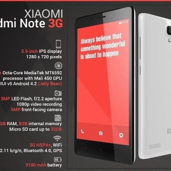Xiaomi Redmi Note RAM 2GB ROM 8GB GARANSI RESMI DISTRIBUTOR 1 TAHUN - Putih