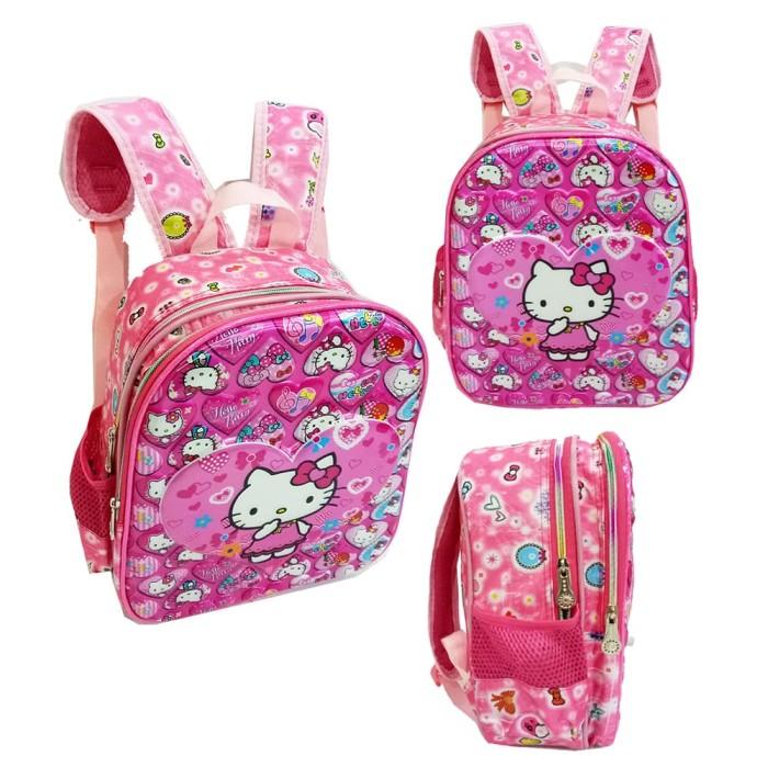 Tas Ransel Hello Kitty 5D Timbul Hologram Ukuran TK ada 2 Kantung Pink