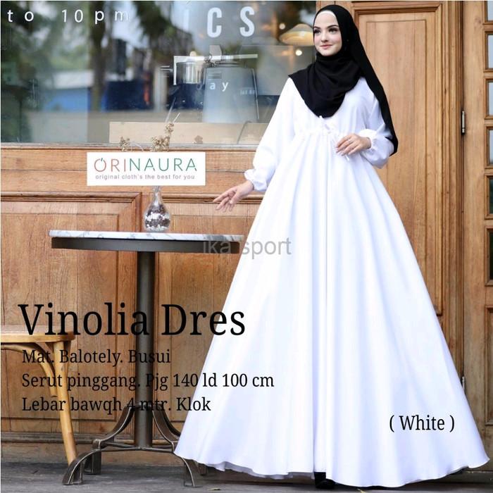 Jual Premium Baju Muslim Gamis Dress Putih Polos Baloteli Vinolia