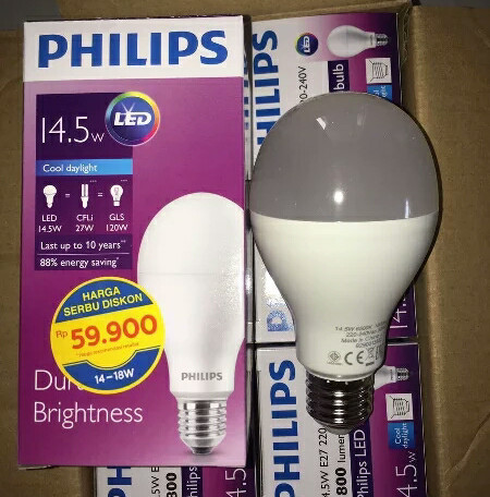 harga Led philips bulb 145 watt ( lampu philips led 14.5 watt ) Tokopedia.com