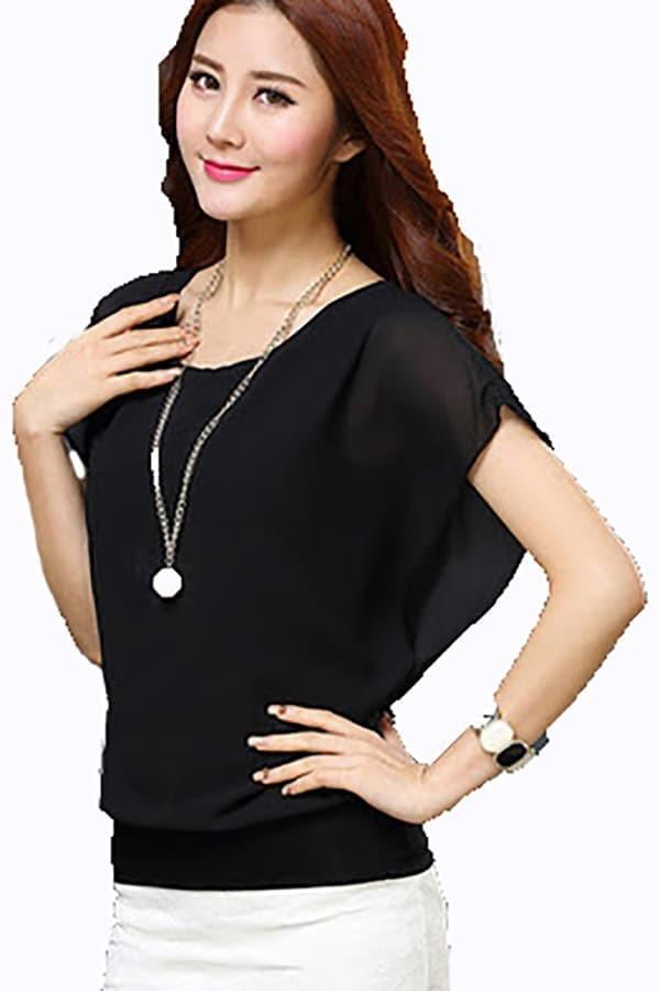 Korean style chiffon Spandek wing blouse - Putih, XL