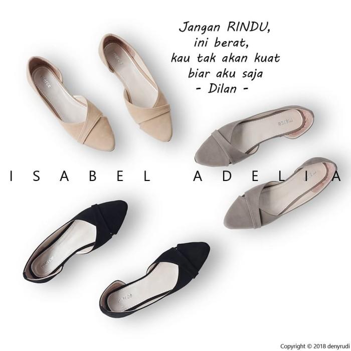 Isabel MILEA Sepatu Balet Wanita Casual Flat Shoes Simple Hitam Moka A