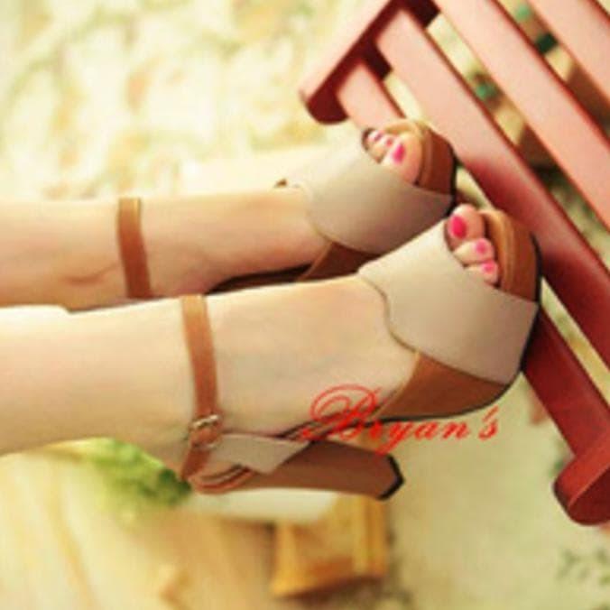 Sandal high heels/high heels cream/nude heels/sepatu wanita/wedges