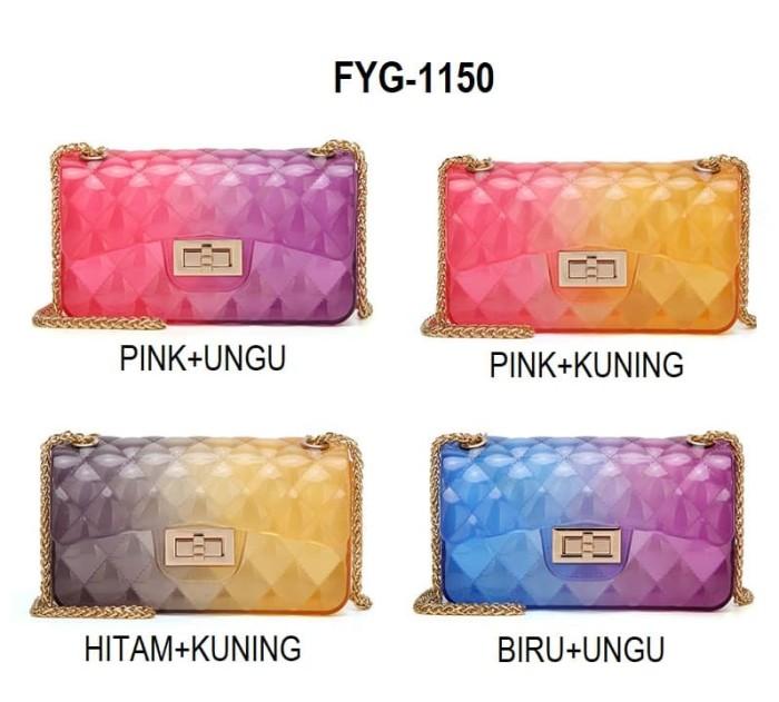 FYG-1150 Tas Jelly Kelly Tas Jelly Rainbow Tas Jelly Fashion Trendy -  Biru-Ungu 0f19be3cca