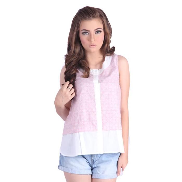 blouse baju batik wanita rianty batik nesha pink- size m