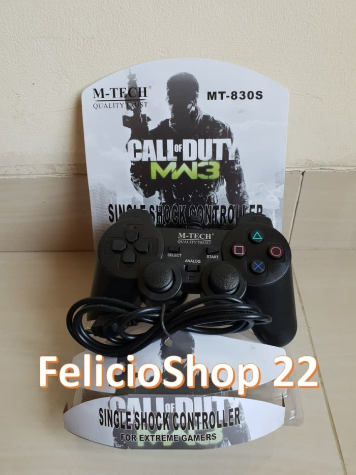 Foto Produk GAMEPAD JOYSTICK USB SINGLE HITAM STICK PS PC LAPTOP MTECH / M TECH - Hitam dari felicioshop22
