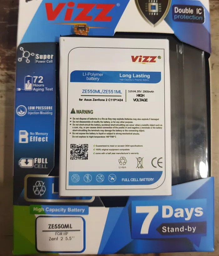 "Baterai double power vizz zenfone 2 5,5"" ze550ml"