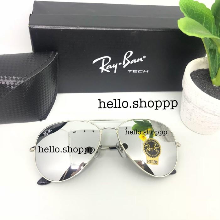 Kacamata Rayban Aviator 3026 lensa kaca silver mirror - sunglasses 1767e649ca