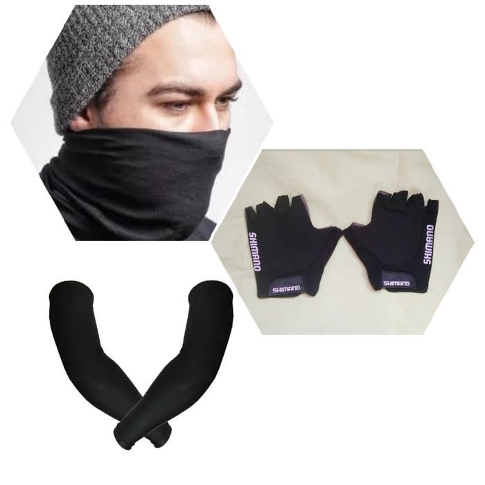 harga Manset tangan shimano sarung tangan sepeda buff polos warna hitam Tokopedia.com