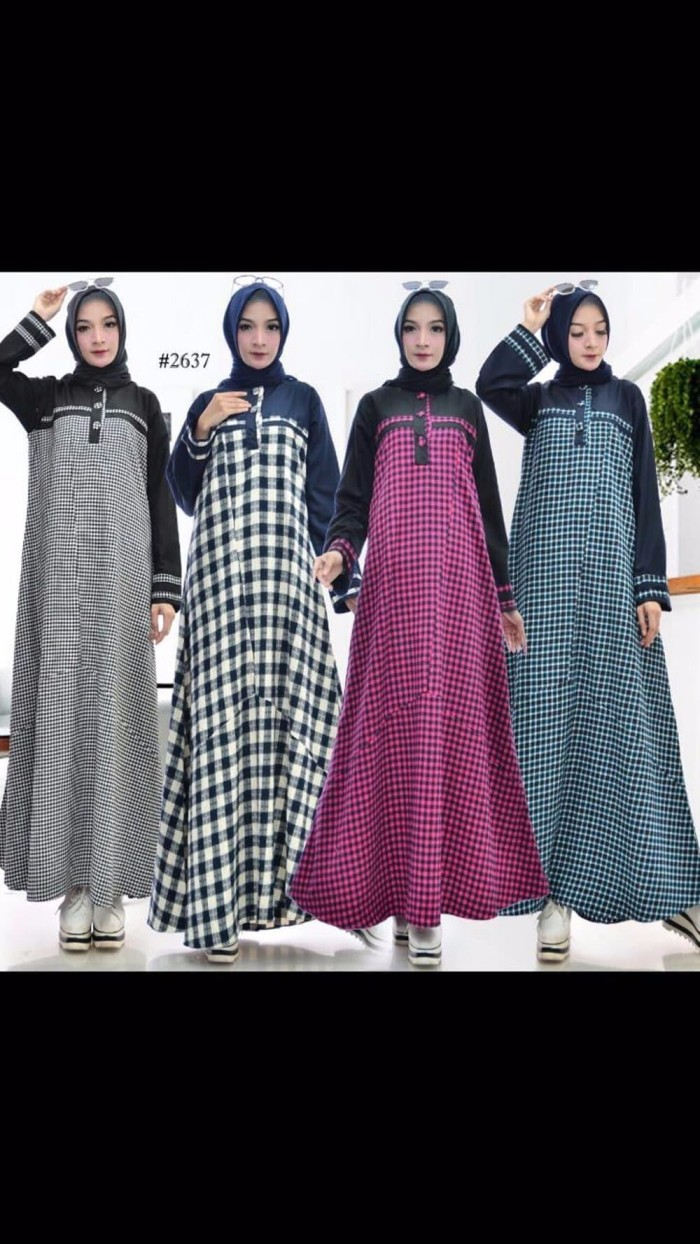 Jual PREMIUM Baju gamis muslim wanita motif kotak - Jakarta Barat - COSMOS  10  Tokopedia