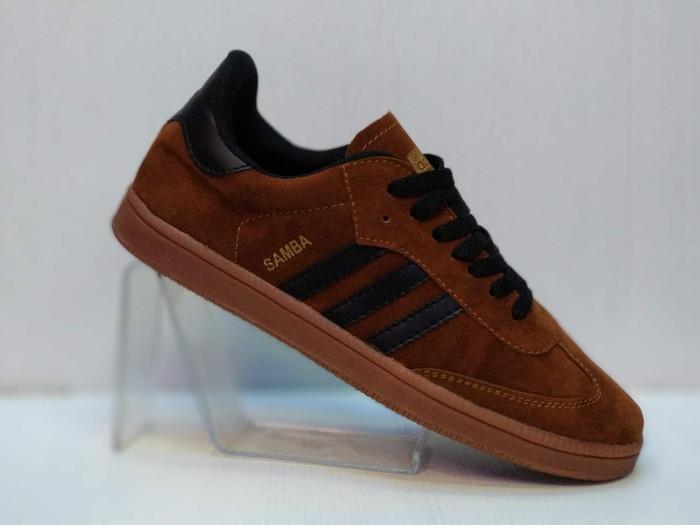 harga Terlaris sepatu adidas casual samba suede coklat list hitam gum import Tokopedia.com