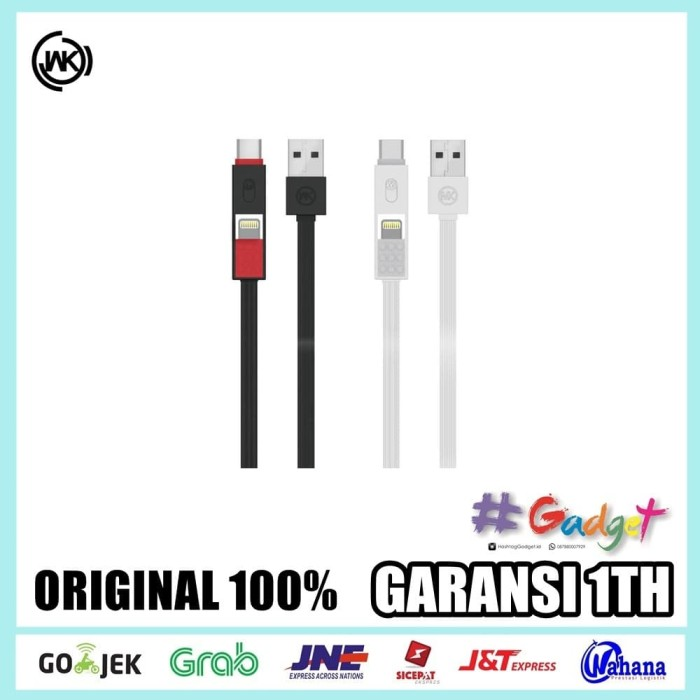 harga Cable 3 in 1 wk design parker cable type c  lightning  micro usb Tokopedia.com