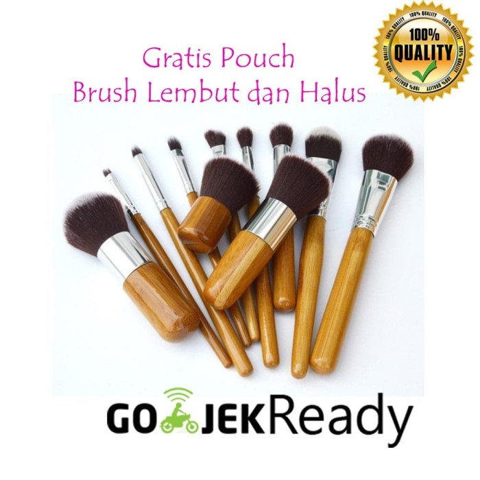Set make up brush cosmetic 11 set with pouch kuas make up wajah