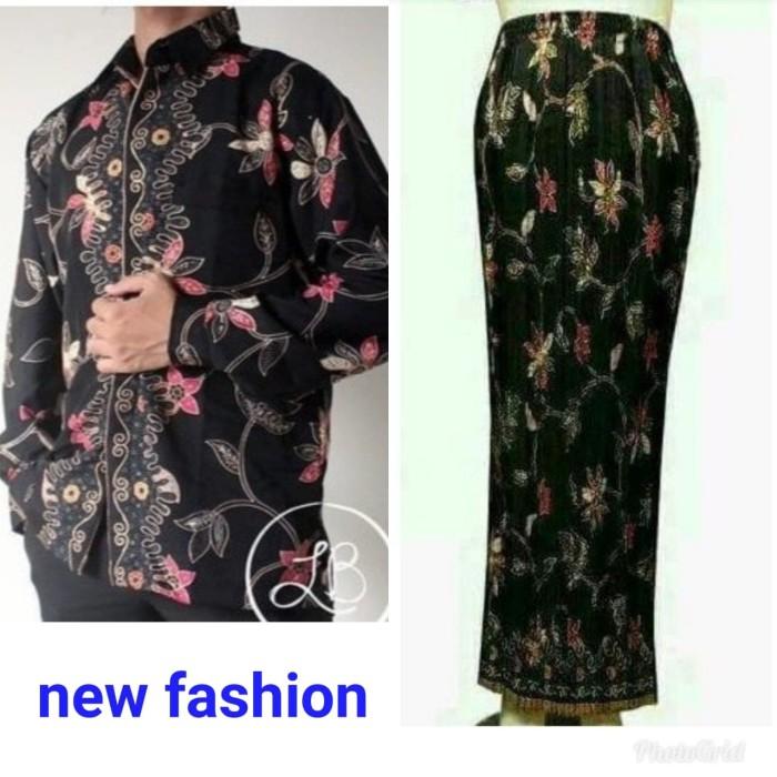 harga Couple rok plisket dan kemeja new motif rambat hitam Tokopedia.com