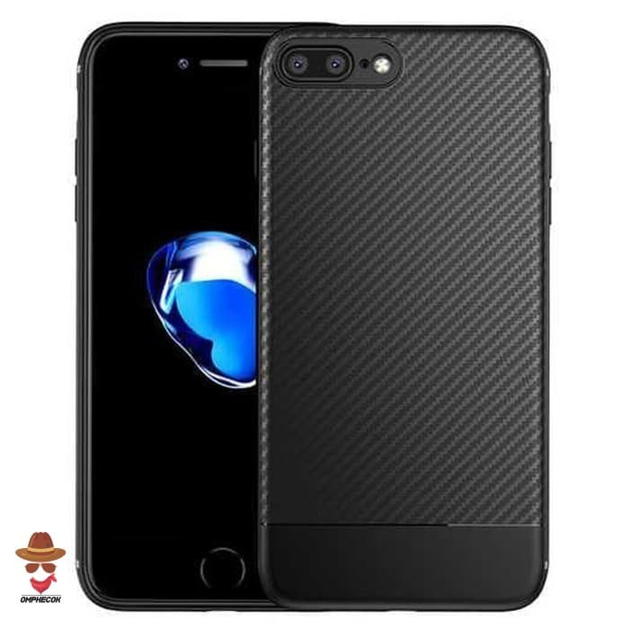 Solid Full Protective TPU Carbon Fiber Softcase - iPhone 7 / 8 - Hitam