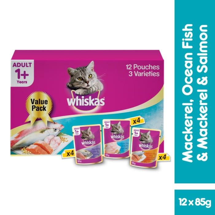 harga [isi 12 pack] whiskas pouch 85 gr makanan kucing basah 3 rasa Tokopedia