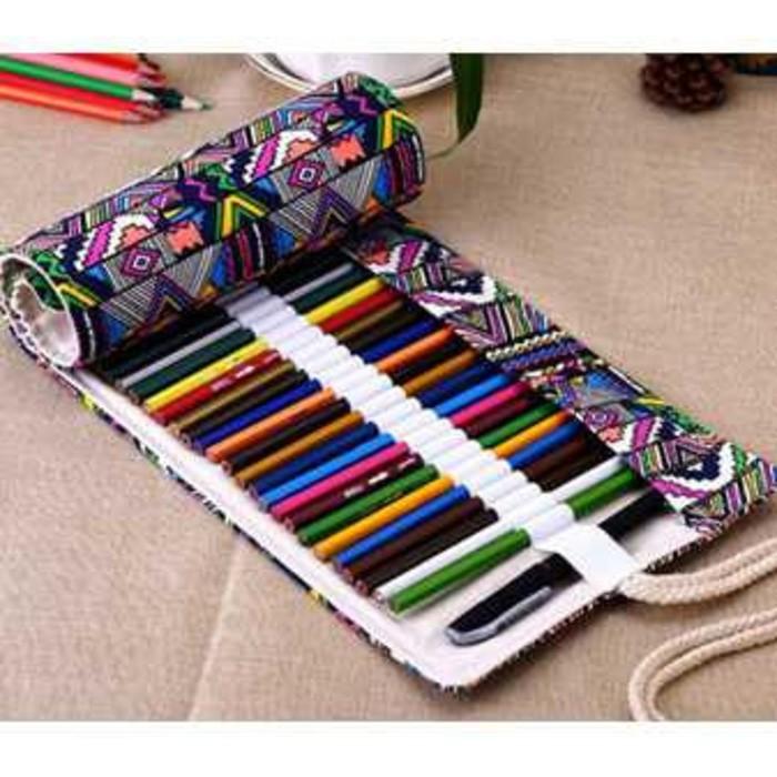 Foto Produk Tas Tempat Pensil Gulung Canvas 48 Slot 20 x 56cm Case Pensil Warna dari Lazy Gadget