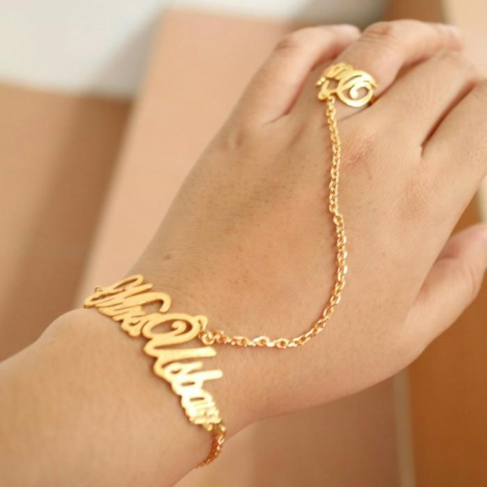 Jual Gelang Ukir Nama Unik Monel Lapis Emas Model Set Cincin Untuk Paca Kota Palu Permata Jewelry Tokopedia