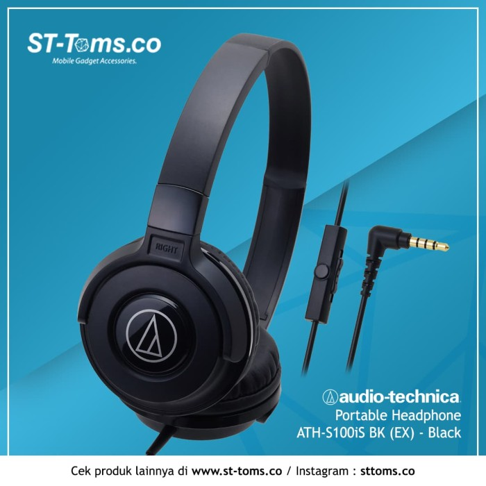 harga Audio technica portable headphone ath-s100is bk (ex) - black - hitam Tokopedia.com