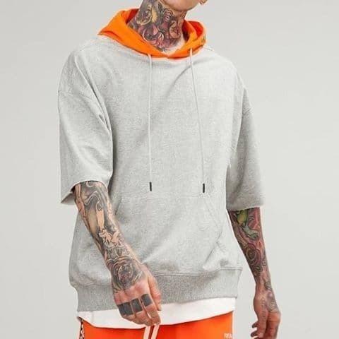 ... harga Jaket sweater short hoodie polos lengan pendek kombinasi dewasa Tokopedia.com