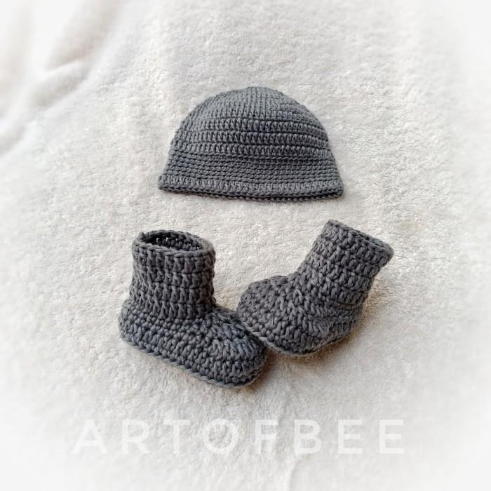 sepatu rajut bayi 10 - set sepatu dan topi rajut crochet - 0-3 Bulan