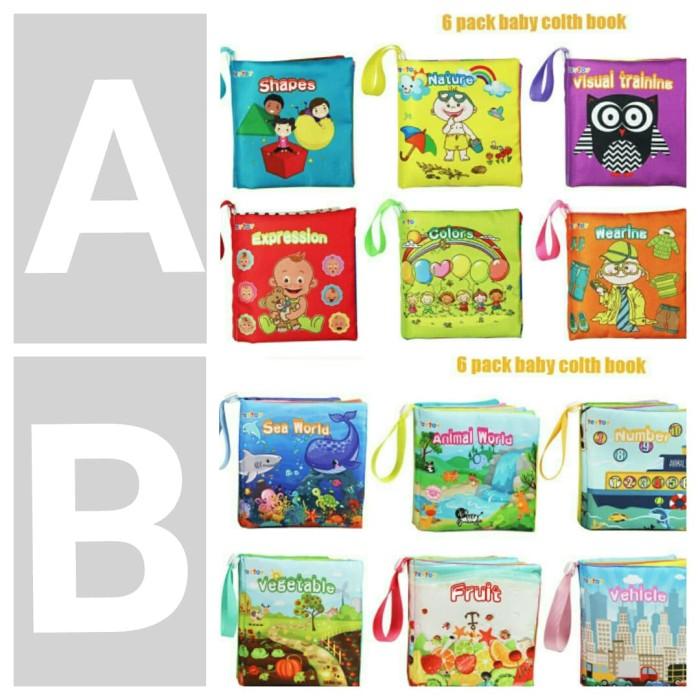 set 6pcs mainan edukasi bayi buku kain bunyi boneka soft book toy baby