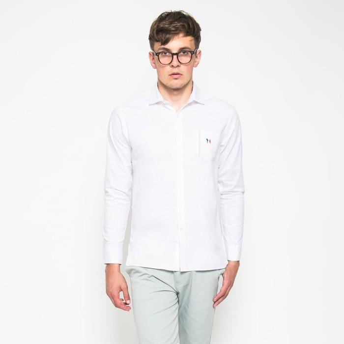 harga Mon akita - hiro men shirt white - kemeja lengan panjang putih pria - putih l Tokopedia.com