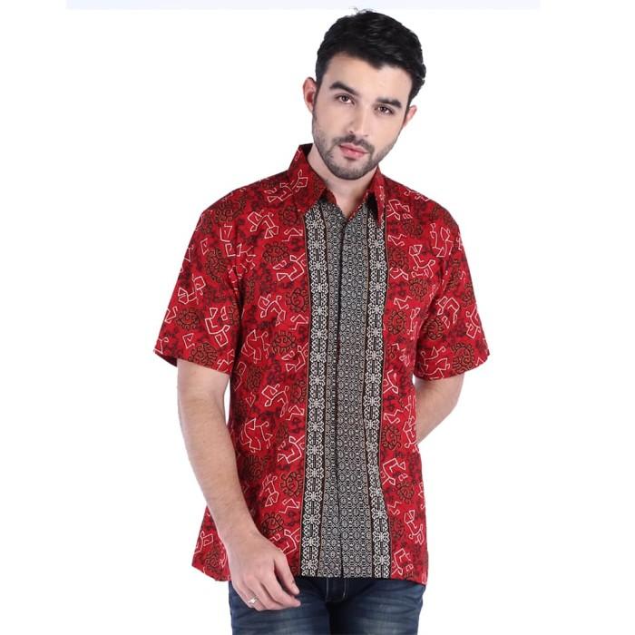 hem kemeja baju batik pria rianty batik hem mahesa red- size l