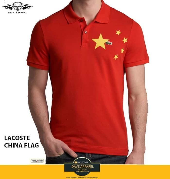 3277ce442 Jual polo shirt lacoste china flag - Putih