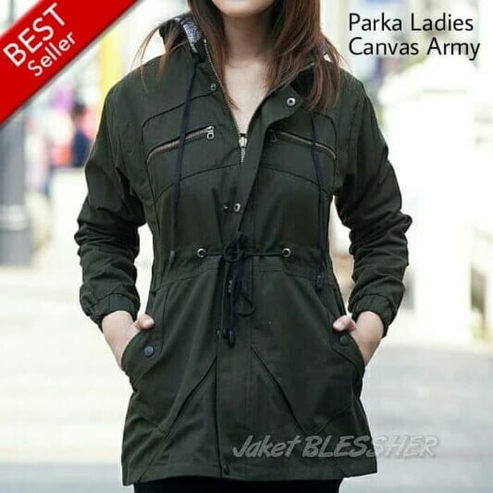 Jaket Parka Wanita Canvas Army Original Premium/ Jaket Blessher Casual