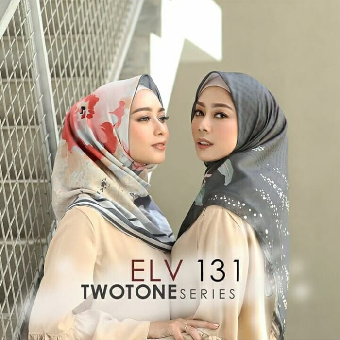 Elv voal twotone series no 131 hijab voal printed scarf