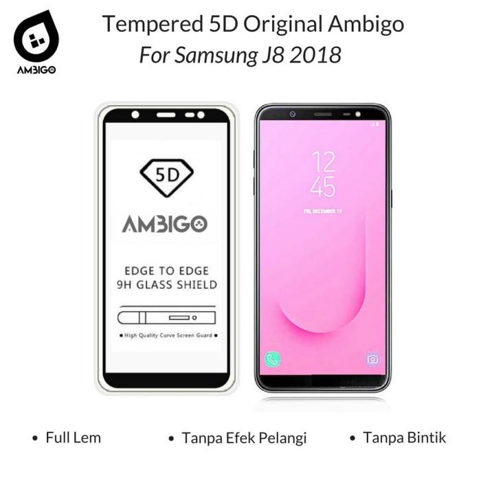 Tempered Glass 5D Samsung J8 2018 Full Cover Ambigo Original - Hitam