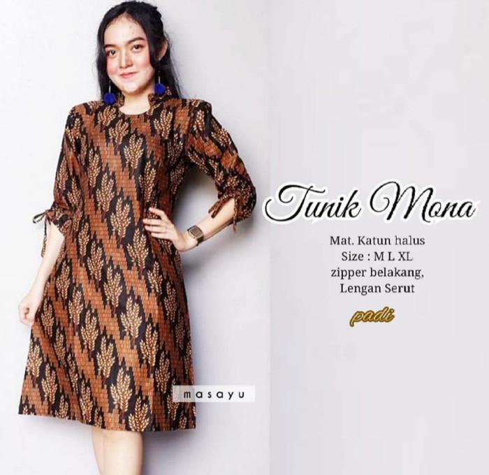 harga Dress batik (tunik etnik) motif batik mona murah ukuran m l xl Tokopedia.com