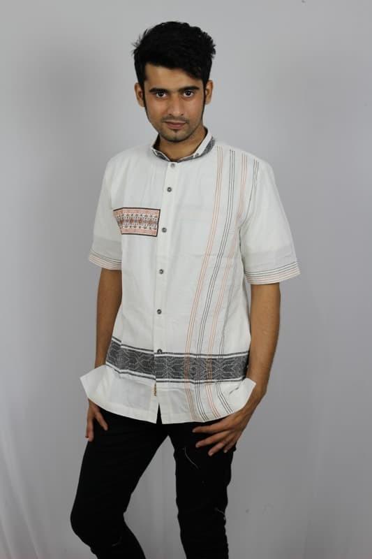 Baju koko pria lengan pendek bordir premium tn 84 putih