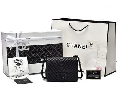 994ec8d6a28e Jual Tas Chanel Mini Square Lambskin Chevron Hitam logam hitam HHw ...
