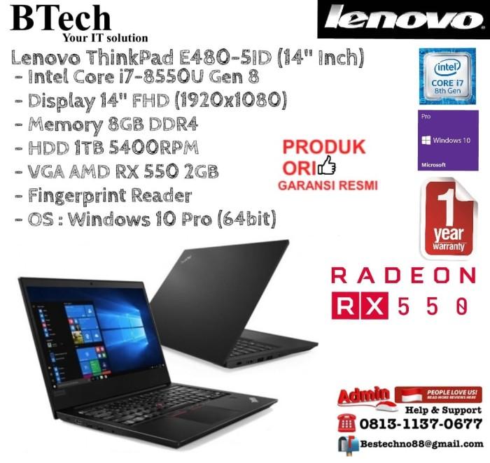 Jual LENOVO ThinkPad E480-5ID Intel Core i7-8550U/8GB/1TB/VGA AMD/Win10Pro  - DKI Jakarta - BESTechno88 | Tokopedia