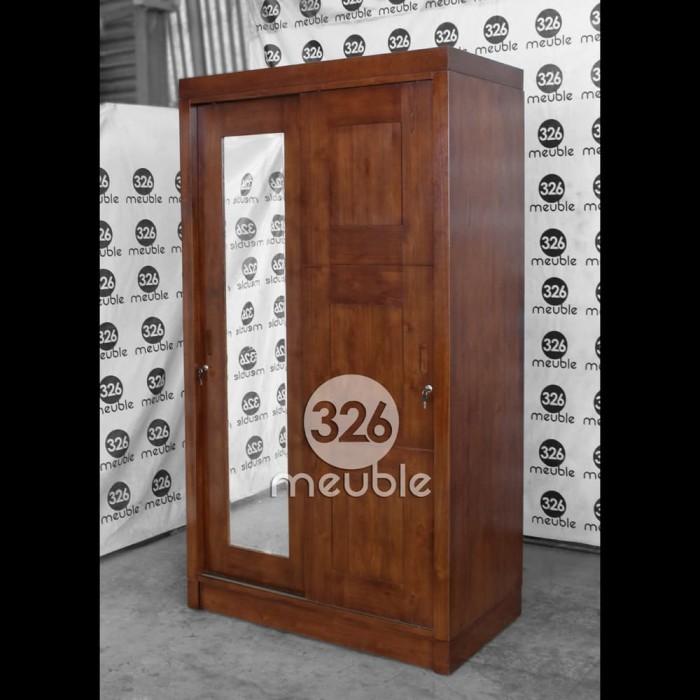 harga Lemari pakaian minimalis almari 2 pintu kaca lemari sliding jati Tokopedia.com