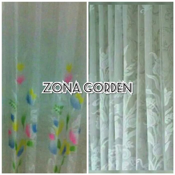 Vitrase/vitrage gorden motif tulip tirai jendela pintu minimalis