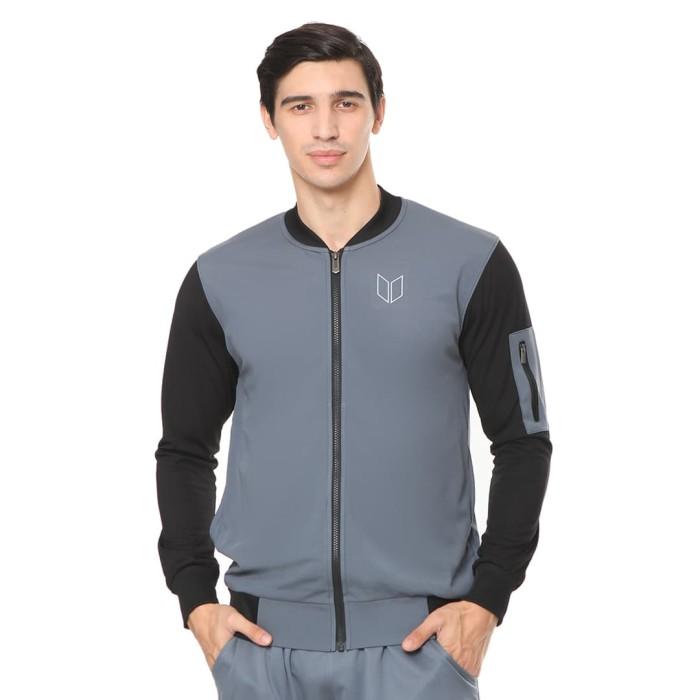enzoro - pakaian olahraga pria marcello jacket thunder grey - abu-abu muda s