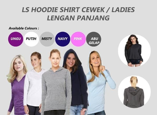 @#@ Kaos T-shirt Hoodie Polos Wanita Lengan Panjang @#@