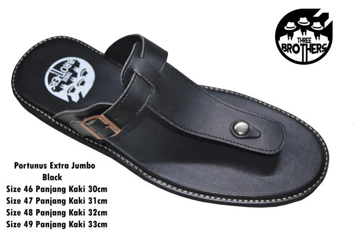 Sandal Kulit Jepit Pria Big Size Ukuran Besar ORIGINAL THREEBROTHERS - Hitam, 45