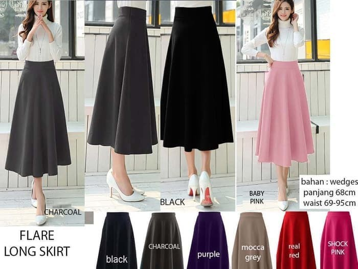 harga Rok panjang midi flare skirt wanita cewek wedges casual elegan Tokopedia.com