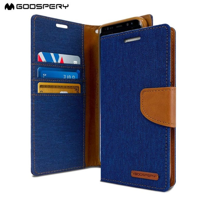 goospery samsung galaxy grand neo canvas diary case - blue