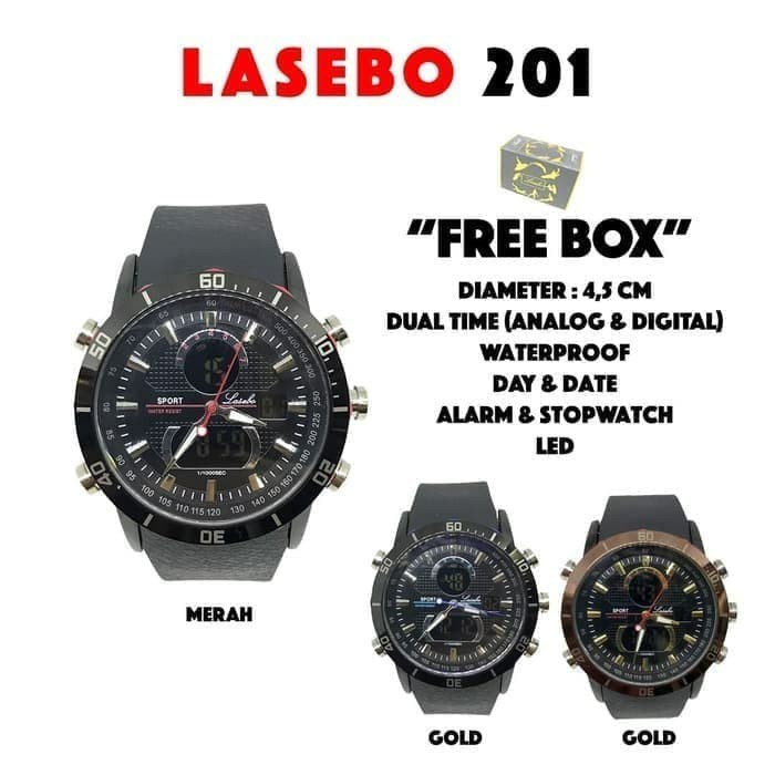 Jam Tangan pria Lasebo rubber LSB201 Gold & Black list Red Dual Time
