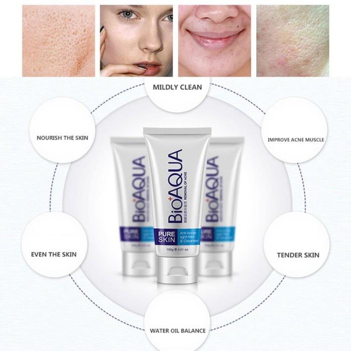 Hasil gambar untuk Bioaqua PURE SKIN Anti Acne Cleanser FOAM