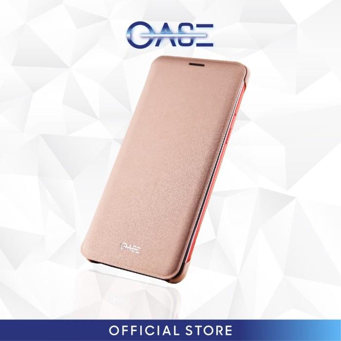 oase leather case oppo smartphone f7 flip case - rose gold