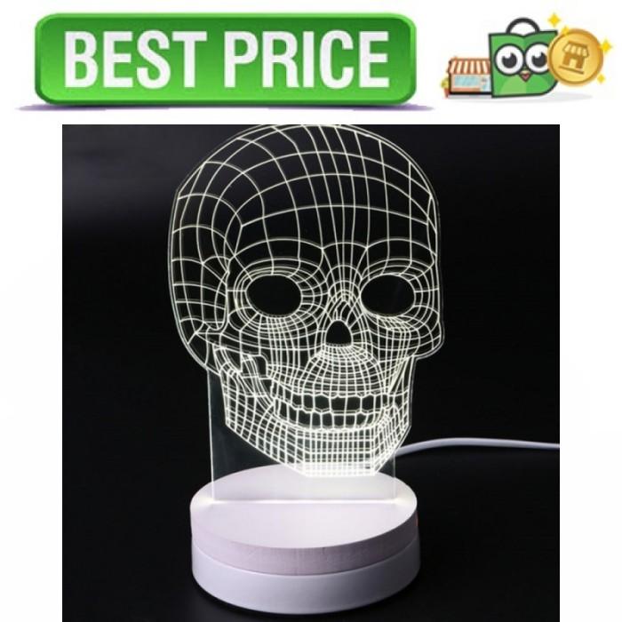 Lampu 3D LED Transparan Design Tengkorak - Putih