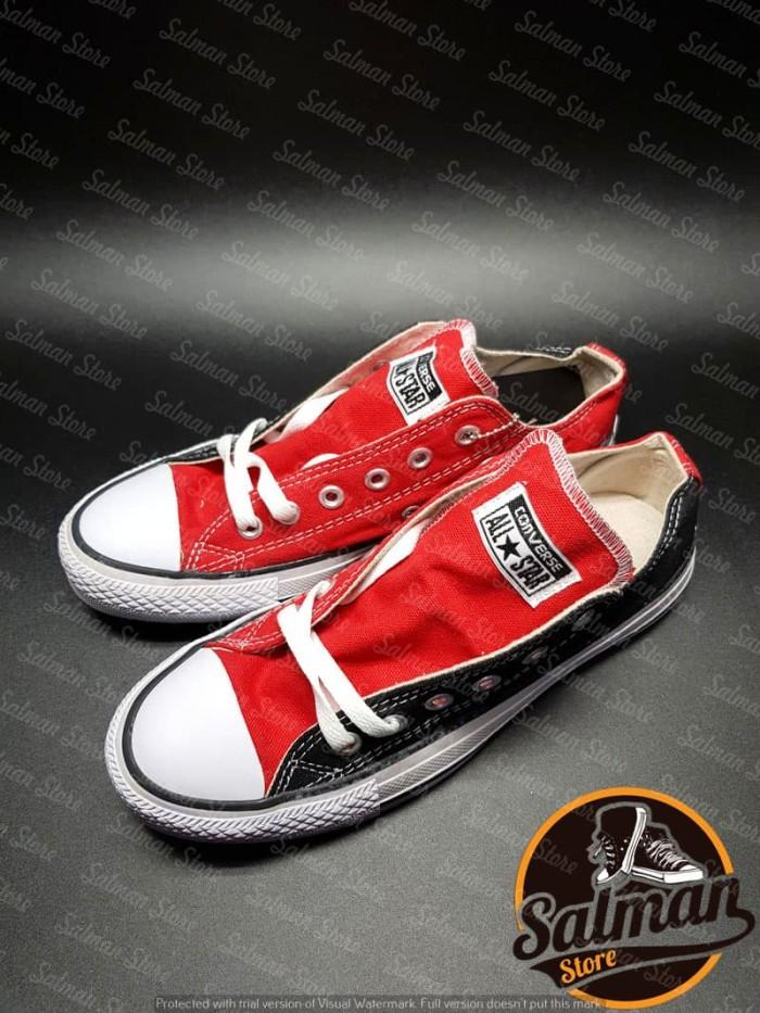 Jual Sepatu Converse All Star Black Red LOW Cuci Gudang Murah - Uneedsport   05ddca3928