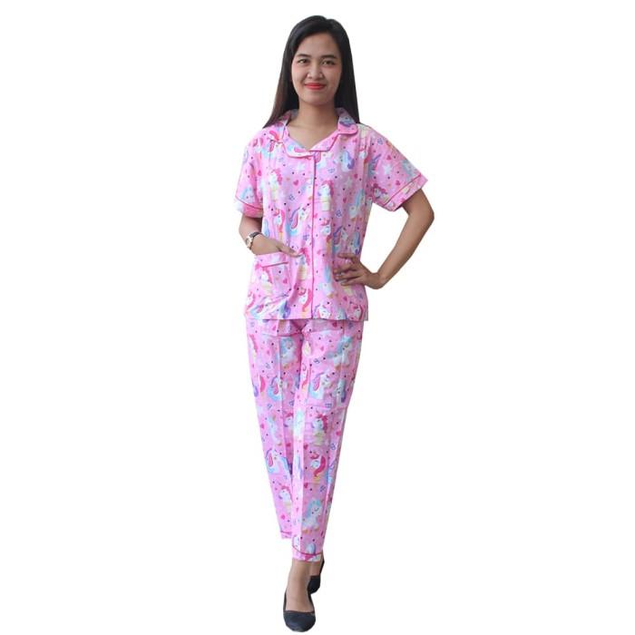 piyama setelan baju tidur wanita motif unicorn sr003