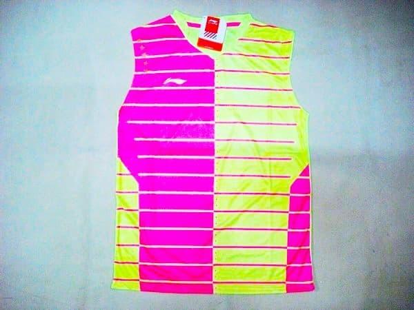 Baju badminton / bulutangkis singlet lining l.18 pink stabilow